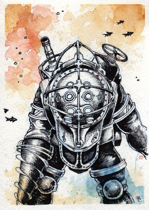 Big Daddy By Bryan Collins Bioshock Bioshock Artwork