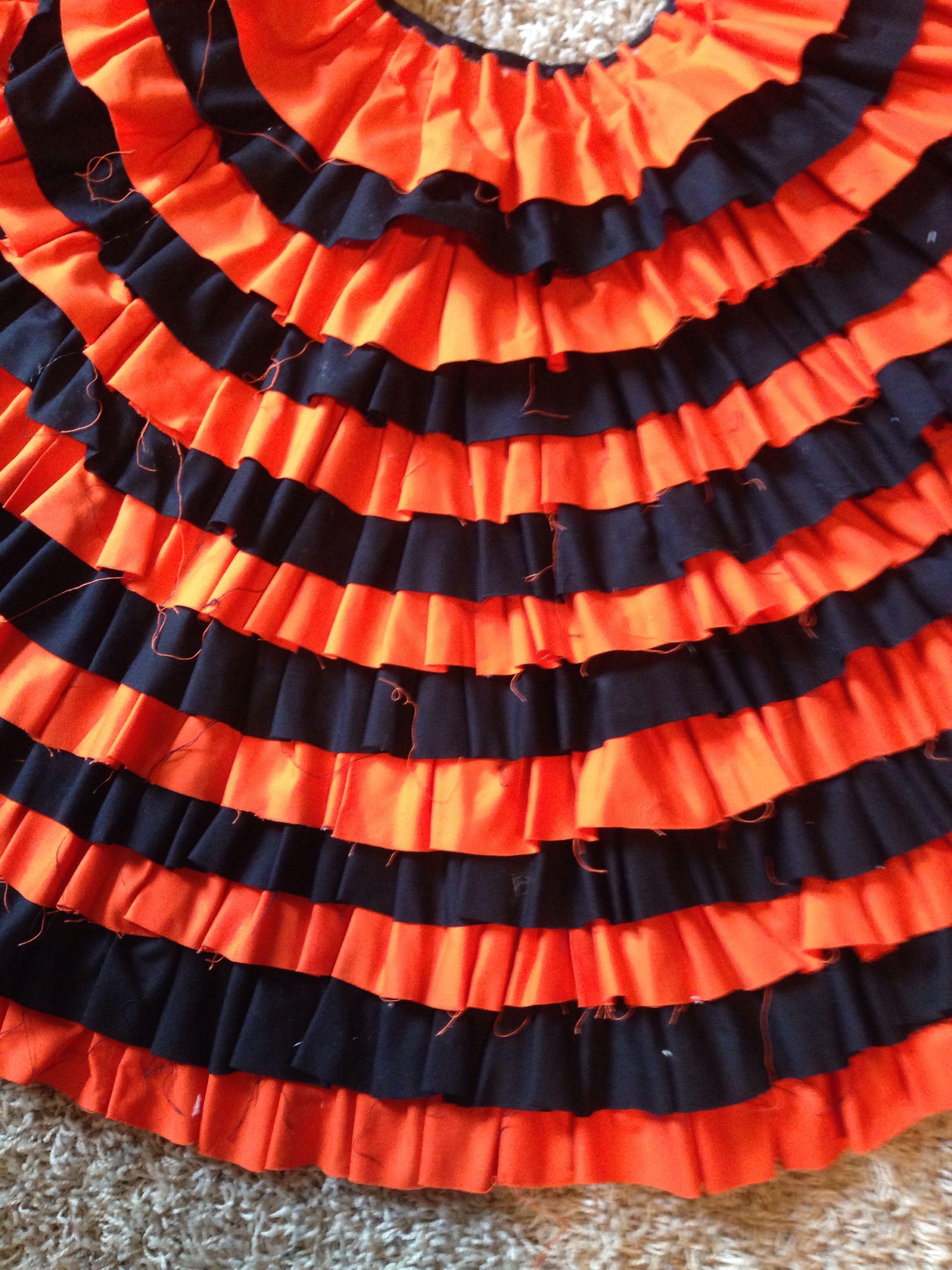 Orange and Black ruffle tree skirt Ruffled tree skirt