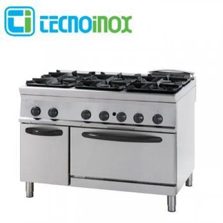 Gastronomie-Gasherd 6-flammig 46,3 kW Tecnoinox PFG12G9 mit Elektro-Backofen GN…