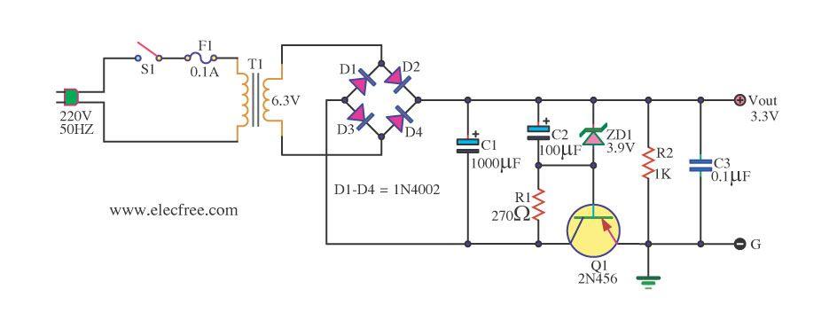 easy power supply regulator 3 3v 1a with 2n456 pnp transistor rh pinterest com