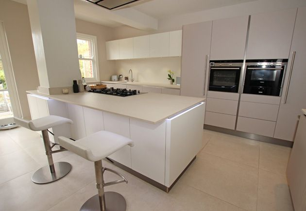 A Cashmere Satin Lacquer Handleless Kitchen Finish Is The Perfect