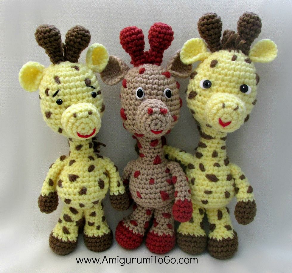 crochet giraffe, free pattern...also has video tutorials for each ...