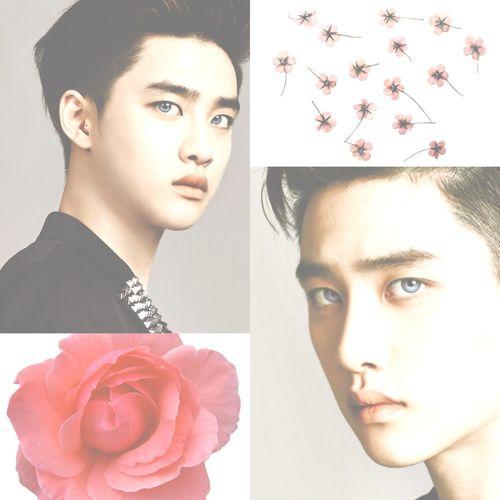 kyungsoo, contact lens & flowers