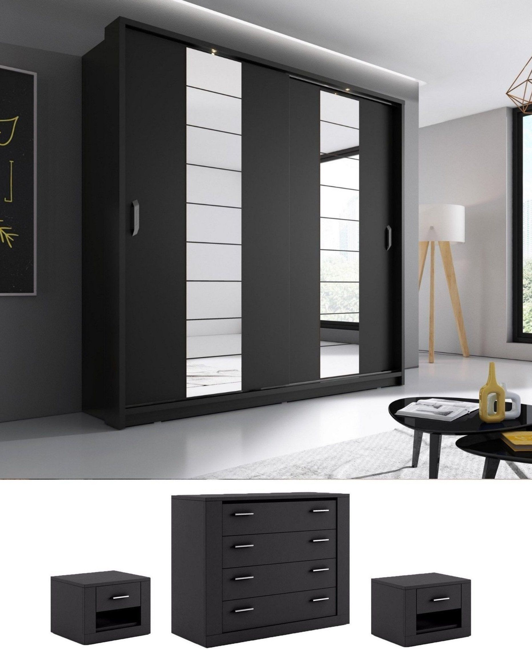 Black Mirror Bedroom Set Bedroom Set Arti 14 Sliding Door Wardrobe 220cm In Black Matt Bedroom Cabinets Bedroom Furniture Sets Bedroom Set