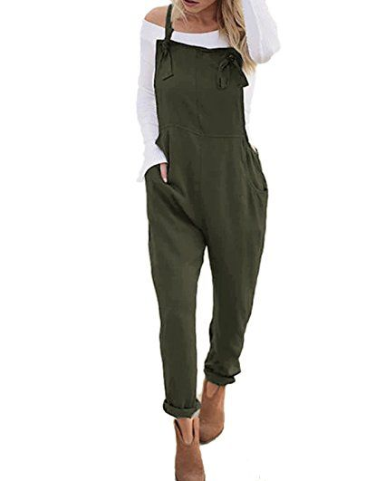 Longwu Womens Casual Loose Sleeveless Jumpsuit Drawstring Waisted Overall Rompers with Pockets