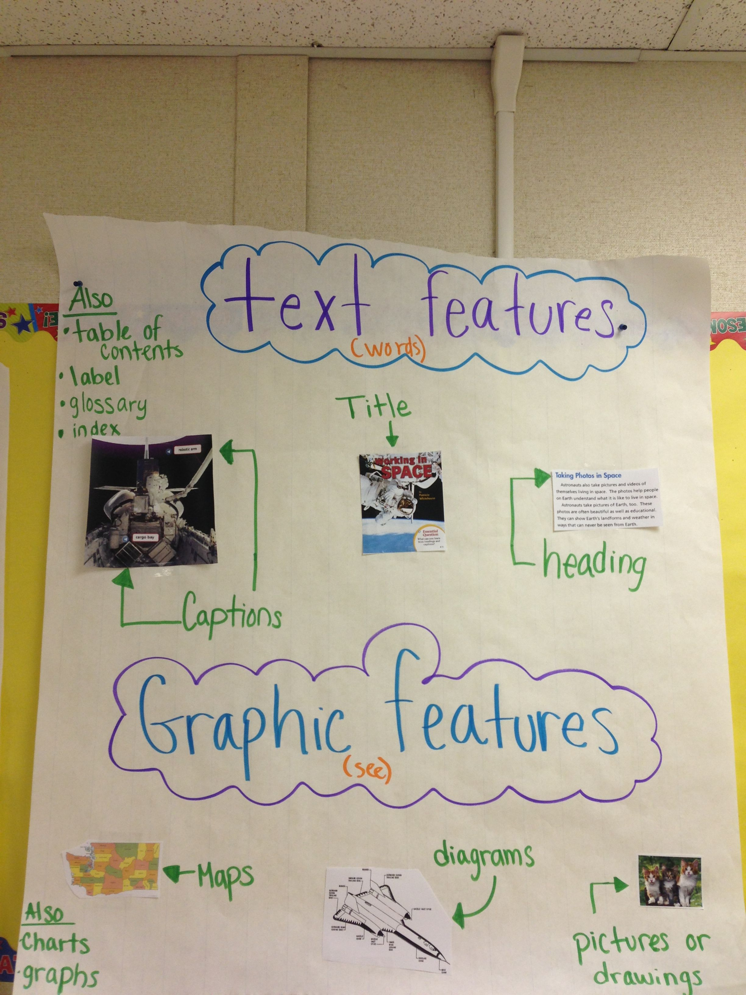 Text And Graphic Features Elementary School Work