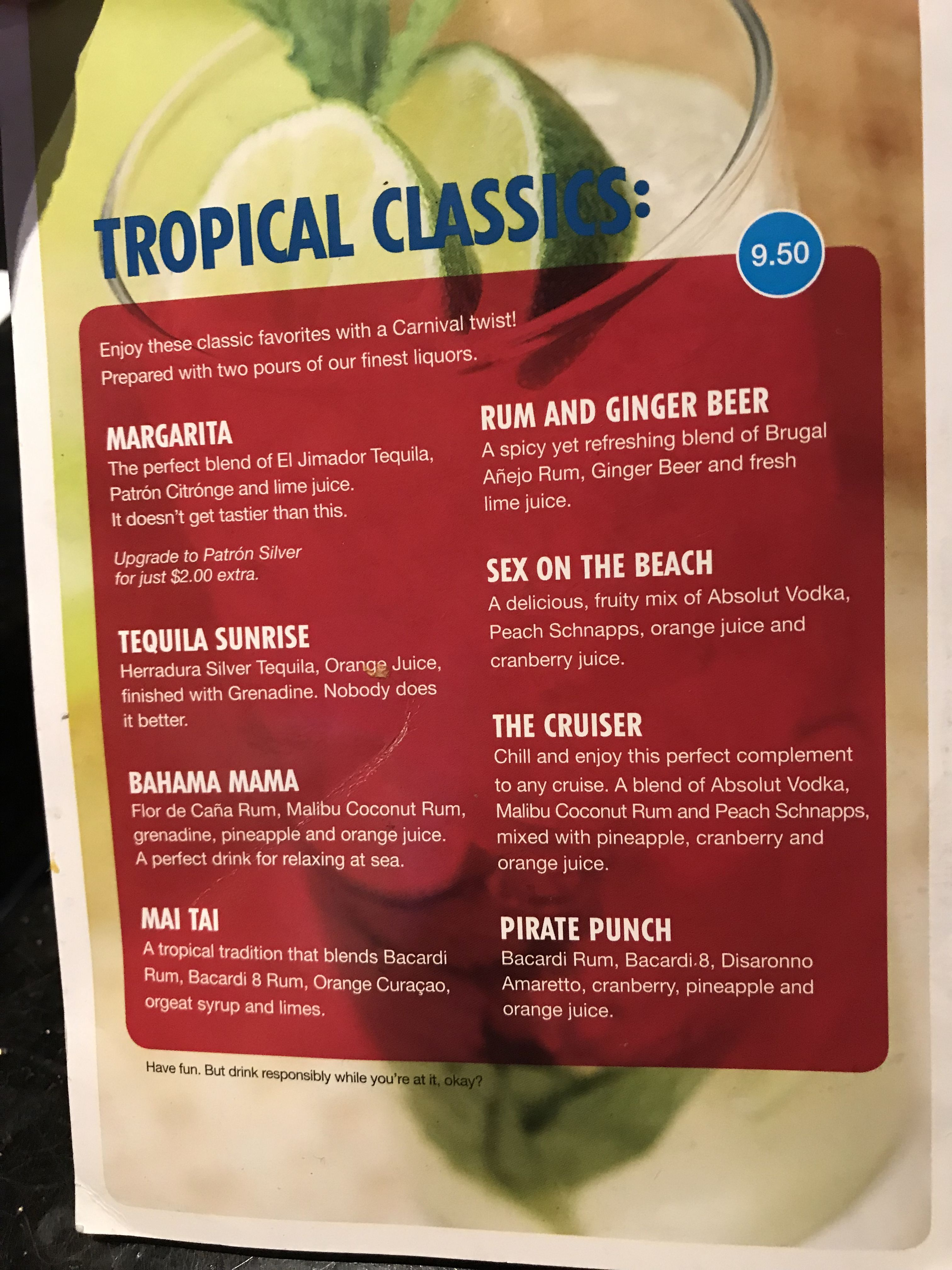 2019 Carnival Glory tropical classics drink menu   Drink ...