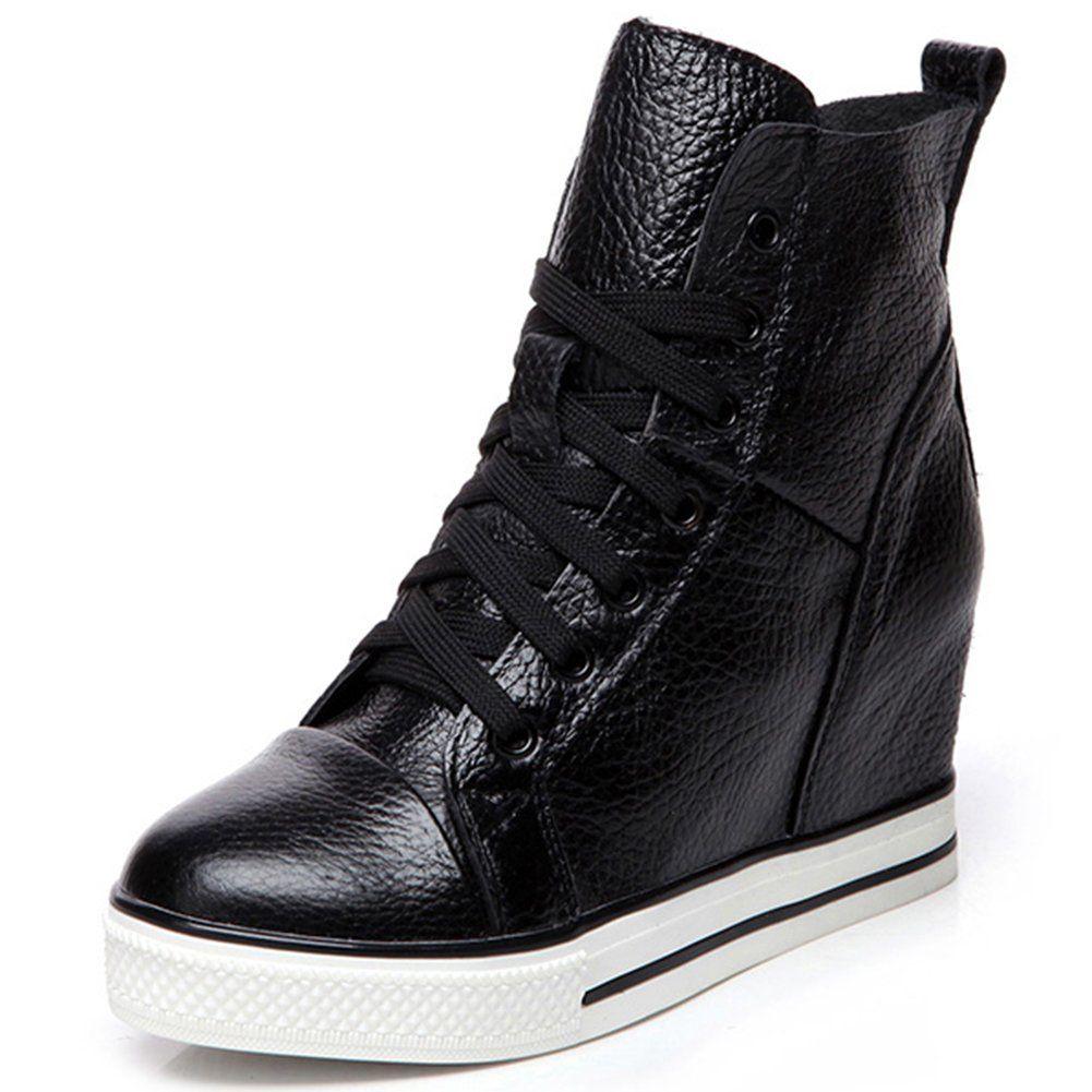 b0b6234d26b78 Leeminus Women's Black Leather Wedge Heels Sneaker Shoes 8 B(M) US ...
