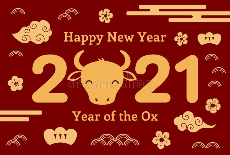 2021 Chinese New Year Ox Illustration Stock Vector - Illustration of face, isolated: 192075321