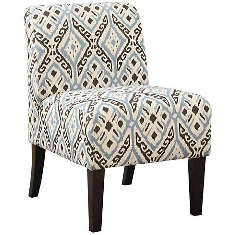 Best Ollano Brown And Blue Diamond Fabric Armless Accent Chair 400 x 300