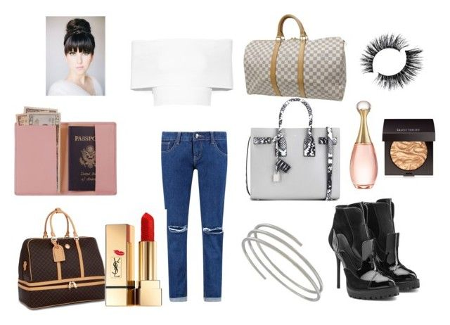 """""""LAX Airport"""" by nancymaria-2016 ❤ liked on Polyvore featuring Royce Leather, Louis Vuitton, Boohoo, Rosetta Getty, Yves Saint Laurent, Alexander McQueen, Rioni, Laura Mercier and Christian Dior"""
