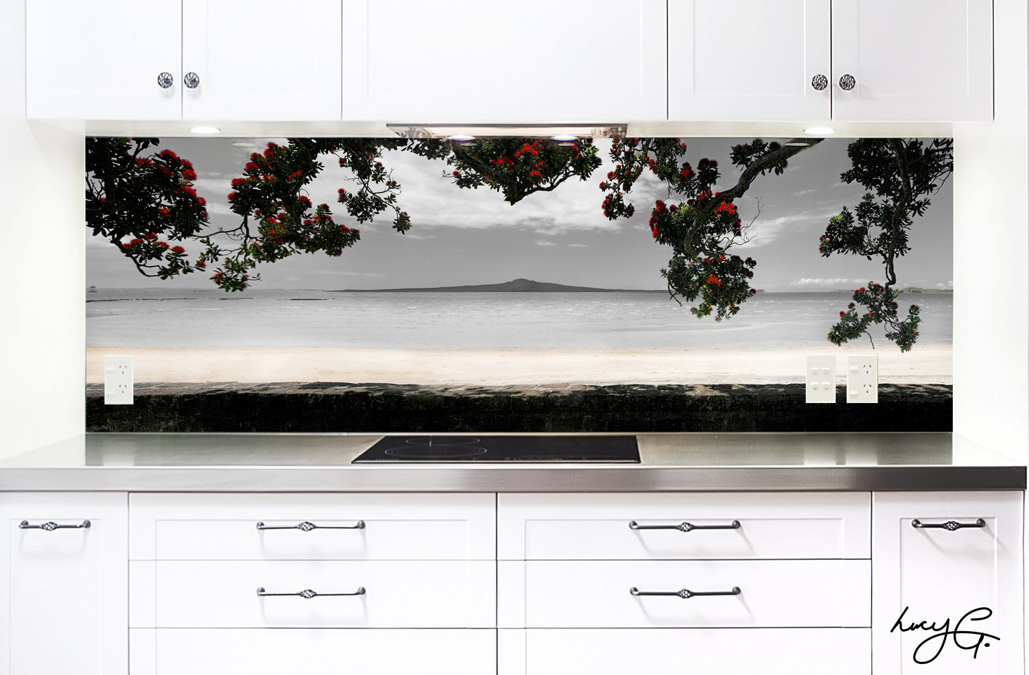 glass kitchen backsplash Kohi Paradise printed image on glass kitchen splashback Divine Renovations Glass Backsplash