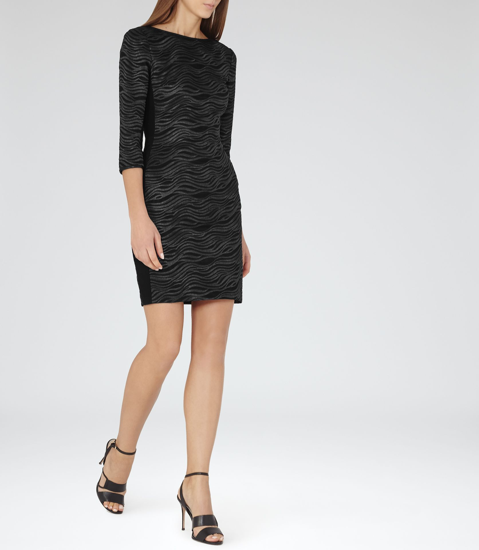 2ee4bfd1ad Womens Pewter/black Bonded Lace Dress - Reiss Lennox   i like ...