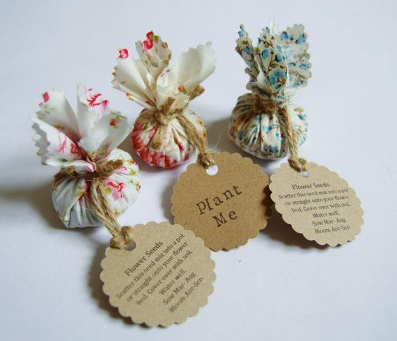 set of 10 country garden flower seed wedding favours with hand