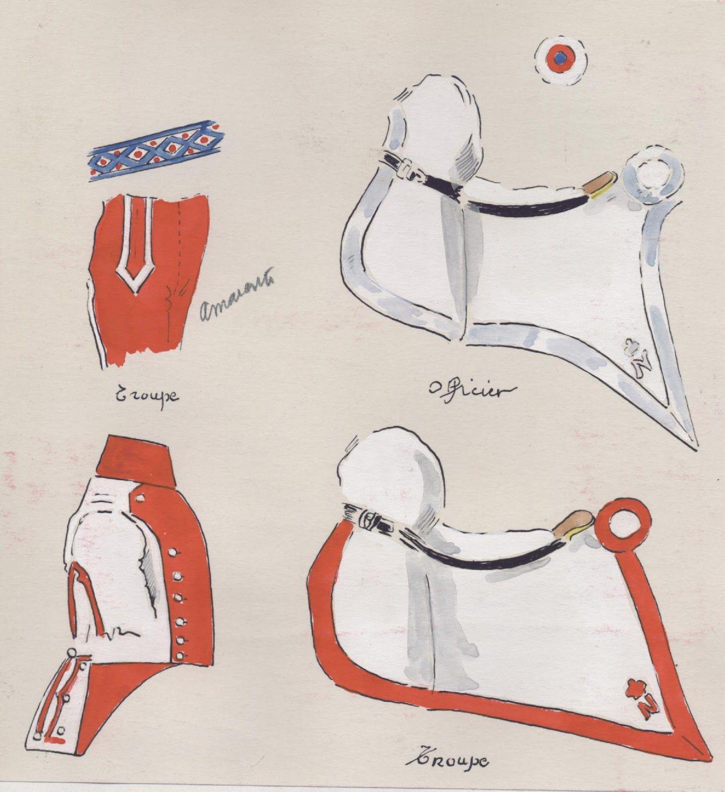 Naples; Garde Royale, Chevau-Legers Regiment, Uniform & Shabraque details by H.Boisselier