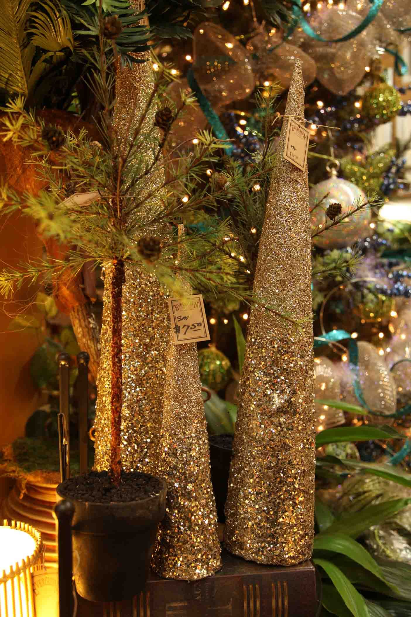 soft gold glittered cone trees  Evergreen Home Decor Store  Lake of the Ozarks