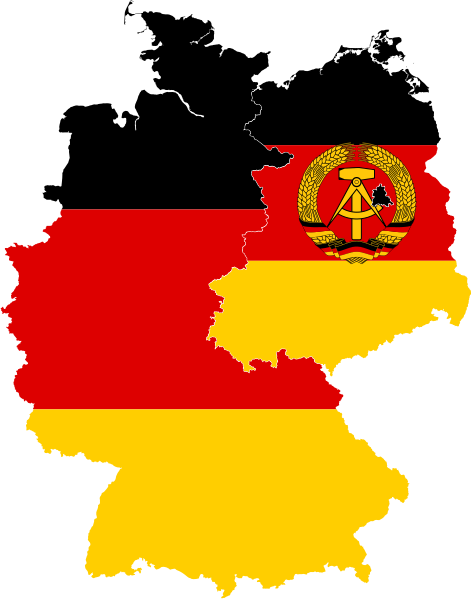 File Flag Map Of East West Germany Svg Wikimedia Commons Germany Map East Germany Germany Flag