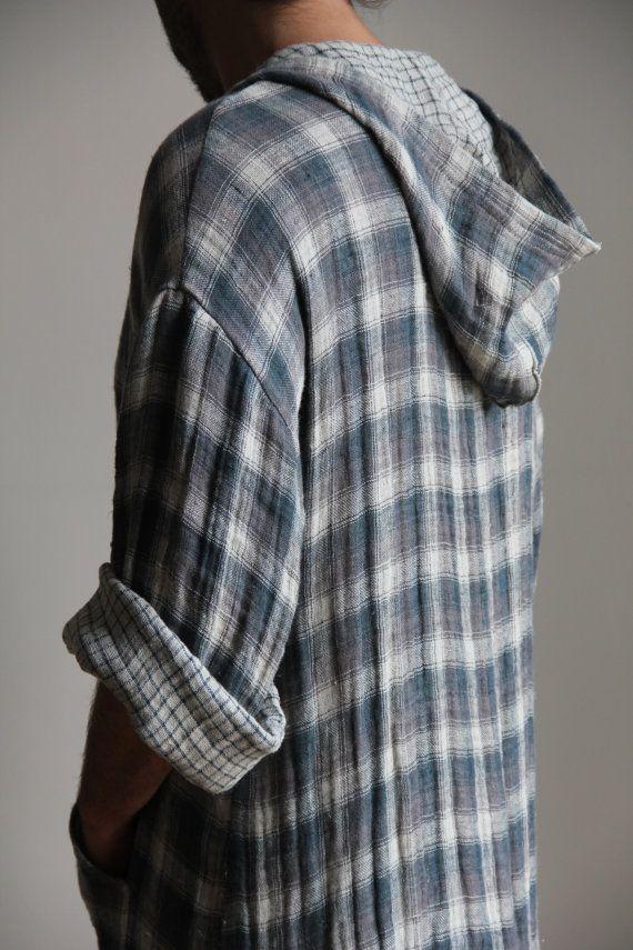 369e33ebee Blue Grey checkered soft linen caftan. Hooded tunic. Contemporary ...