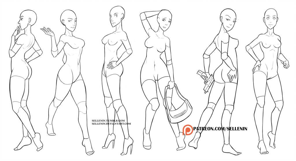 Random female poses by Sellenin | how to draw tips in 2019