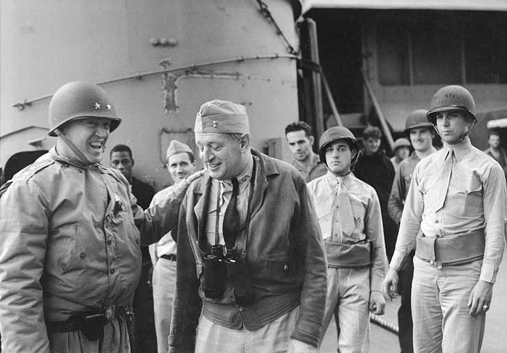 Patton and Rear Admiral H. Kent Hewitt aboard USS Augusta, off North Africa, 8 or 9 Nov 1942 | World War II Database