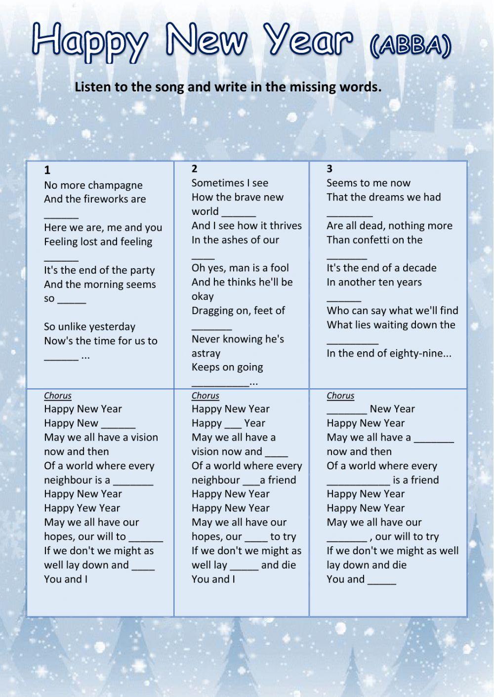 HAPPY NEW YEAR (ABBA) - Interactive worksheet | ESL 2 | Pinterest ...