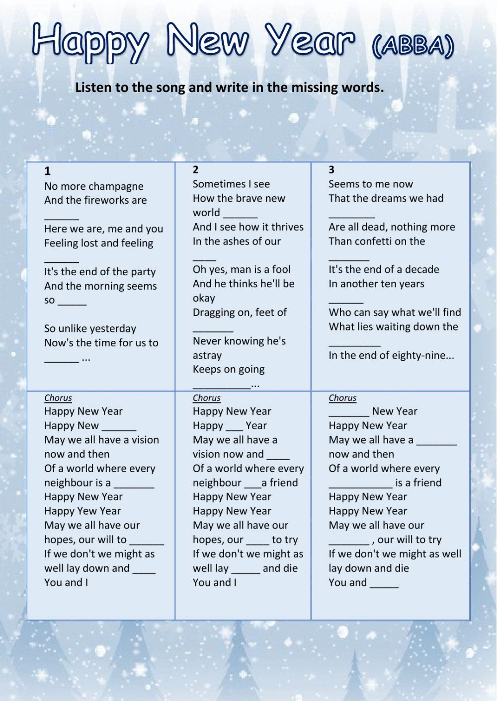 Happy New Year Abba Interactive Worksheet Christmas Songs Lyrics English Exercises Songs