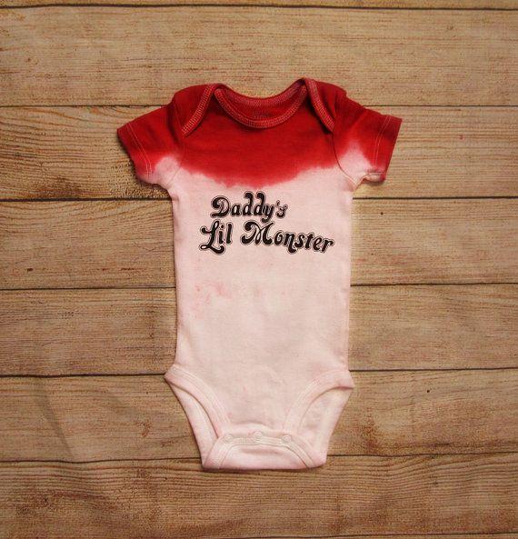 1db21ca81 Daddys little monster baby onesie   Harley Quinn inspired baby ...