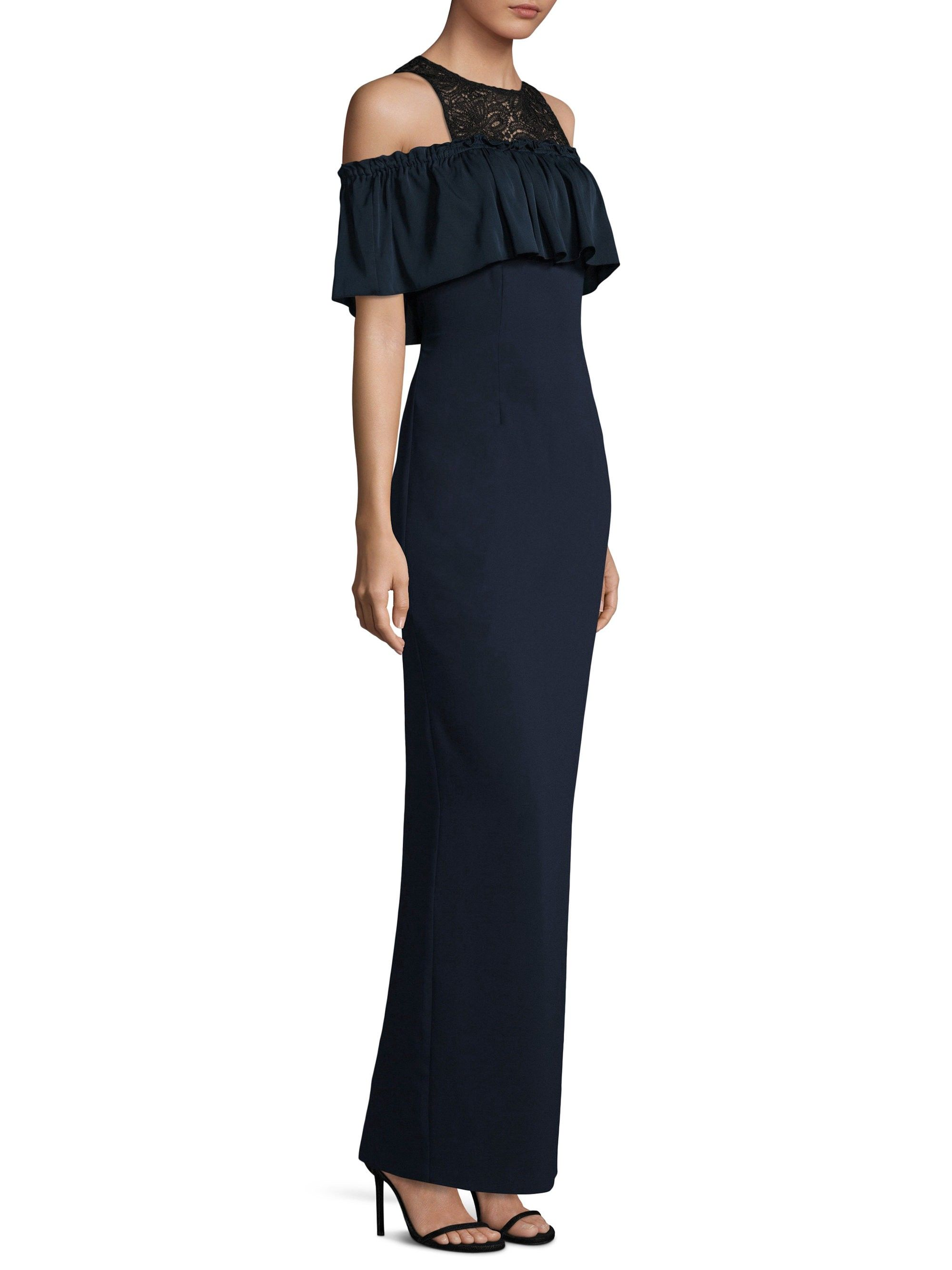 Trina Turk Lauren Cold Shoulder Ruffle Dress Indigo 14 Women S Evening Dresses Black Women Dress Trina Turk Dresses [ 2667 x 2000 Pixel ]
