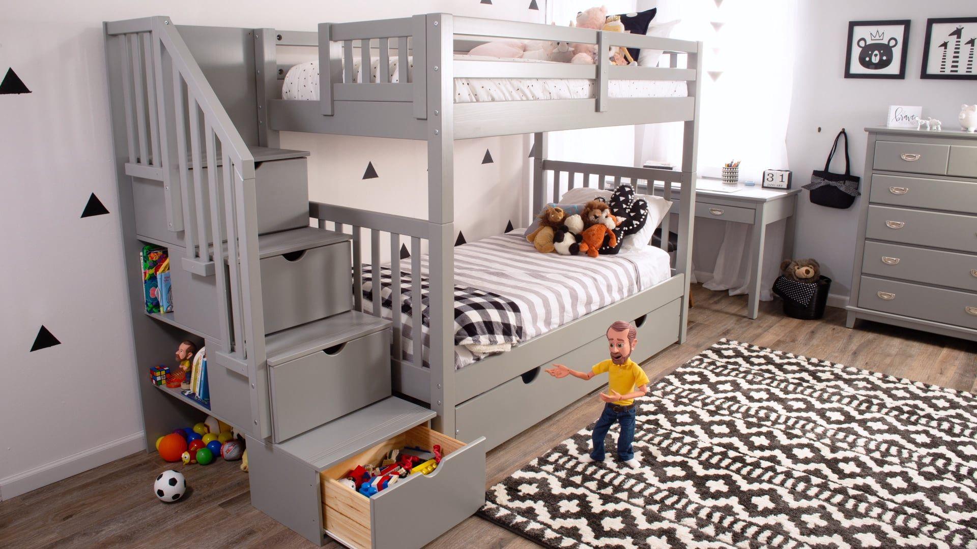 Keystone Espresso Stairway Bunk Bed With Storage/Trundle