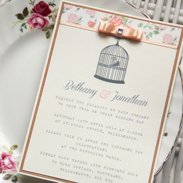 Wedding Invitations Birdcage: Vintage Peach Birdcage Wedding Invitation