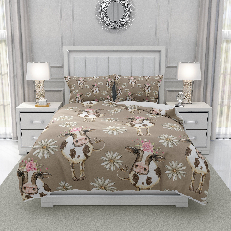 Farmhouse Bedding Set, Cow Comforter, Beige Duvet Cover