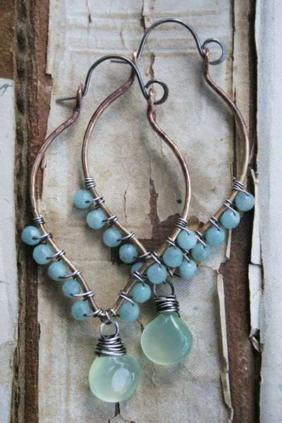 Indian drop earrings with wired on beads: I can do this, except for that unusual ear wire part.... hmmmmm....