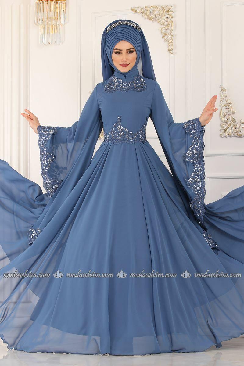 Moda Selvim Kollari Pelerinli Abiye Alm52729 Indigo The Dress Aksamustu Giysileri Musluman Modasi