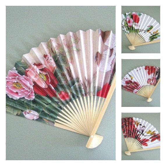 Flower Fans 4 Party Fan Favors Party Favors Hand Fan Decor Wood Fan ...