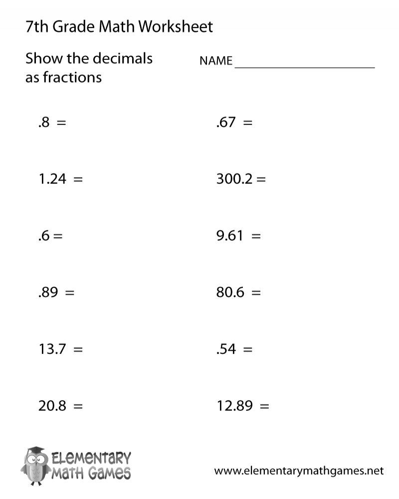 7th Grade Math Worksheets Printables In 2020
