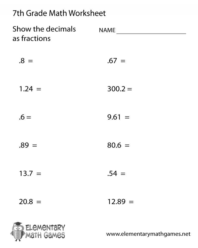 7th Grade Math Worksheets Printables 7th Grade Math Worksheets 7th Grade Math Printable Math Worksheets