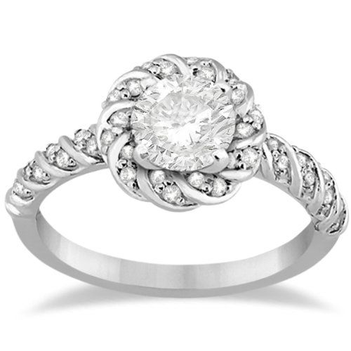 Amazon.com: Vintage Rope Diamond Halo Engagement Ring For Women Bridal VS2-SI GH 18k White Gold (0.27ct): Allurez: Jewelry