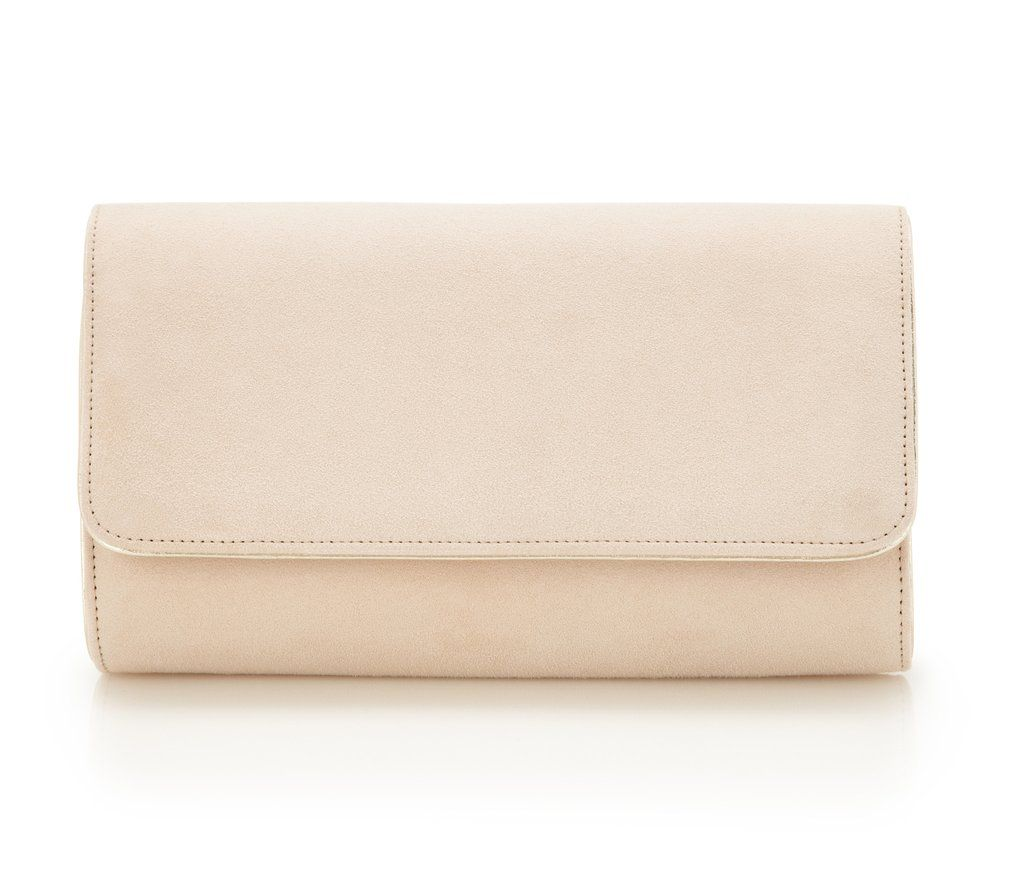 13308616ba41 Emmy London Natasha Blush - Bridal Accessories - Blush Kid Suede - Clutch -  Bag - Gold Leather Trim