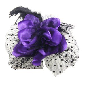 """Rosallini Purple Flower Black Cocktail Feather Hair Clip Corsage for Lady by Rosallini. $4.84. Product Name : Corsage Hair Clip;Design : Flower. Package Content : 1 x Corsage Hair Clip. Main Color : Black, Purple;Weight : 13g. Material : Metal, Polyester, Feather, Mesh Veil;Flower Size (Approx) : 13 x 4cm / 5.1"""" x 1.6"""" (D* H). Veil Diameter : 18cm/ 7.1"""";Alligator Clip Size : 4 x 0.6cm/ 1.6"""" x 0.24"""" (L*W). Features purple polyester flower, black dotted veil, black f..."""