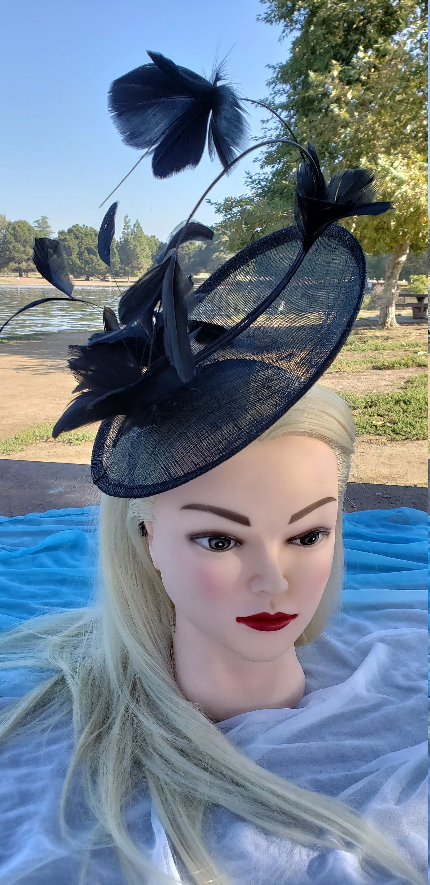 Ladies Black Feather Races Funeral Halloween Mini Hat Fancy Dress Costume Outfit