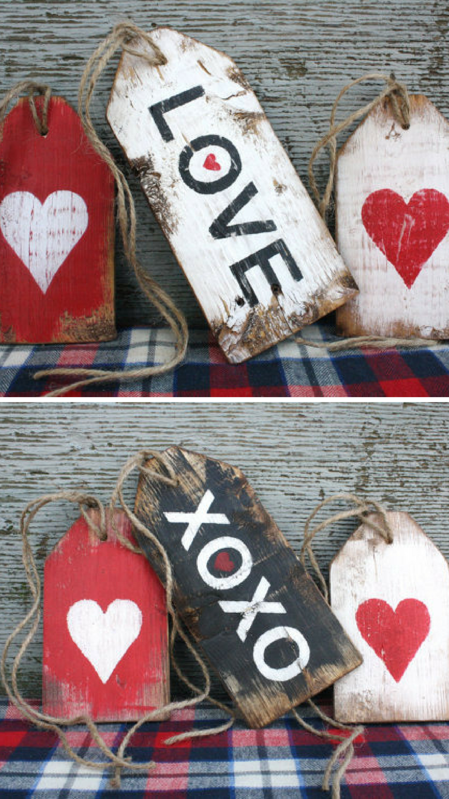 Large Rustic Wood Valentines Tags #love #valentinesday #heart #tags #wood #