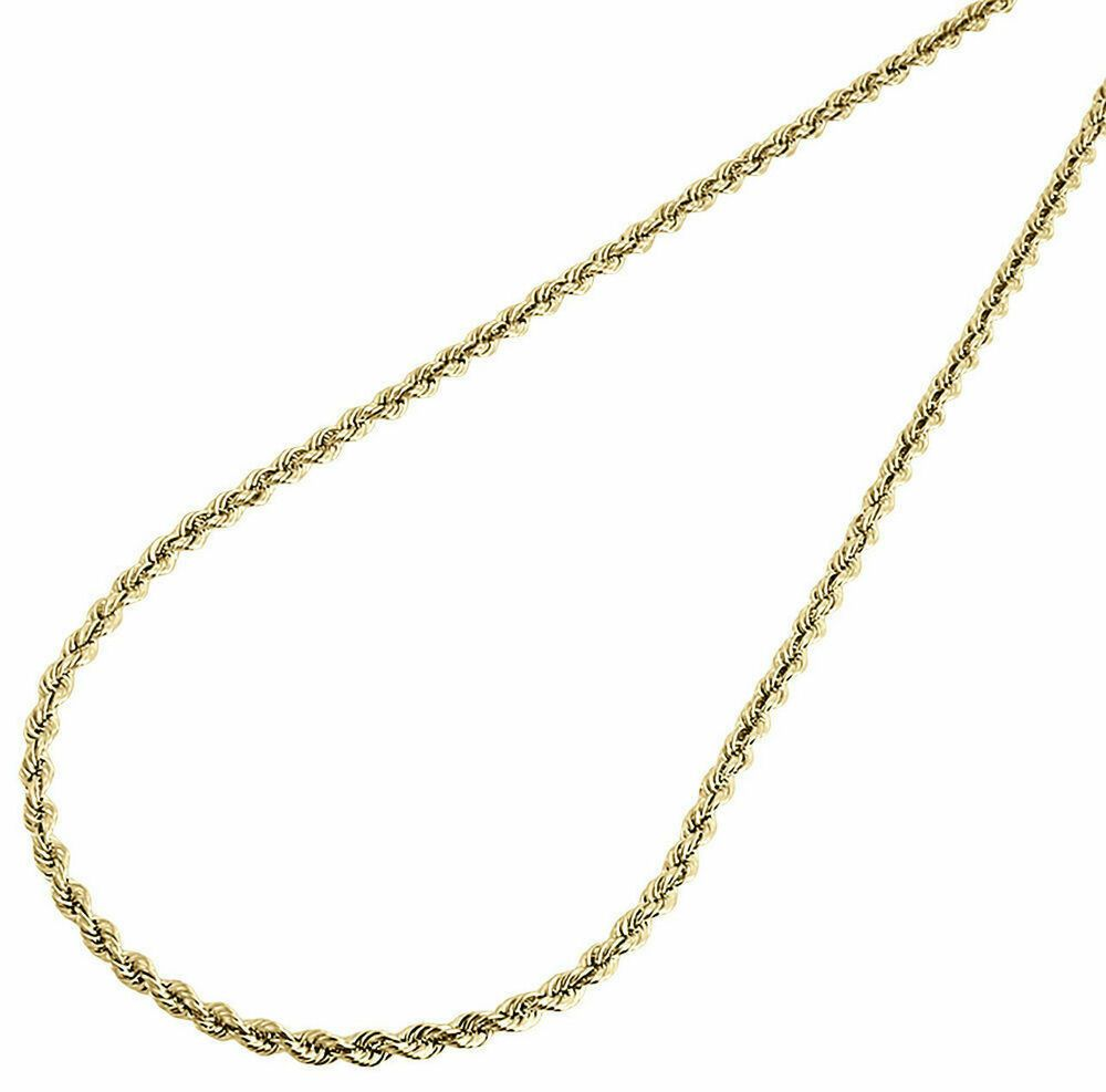 10k Yellow Gold Mens Or Ladies Solid Rope Chain Necklace 2 Mm 30 30 Inch Mens Diamondcutropechain Diamondcutropechain In 2020 Chain Necklace Gold Bracelet For Women