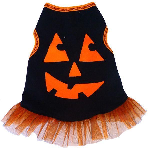 """Pumpkin Face"" Tulle Skirted Tank Dress in color Black/Orange"