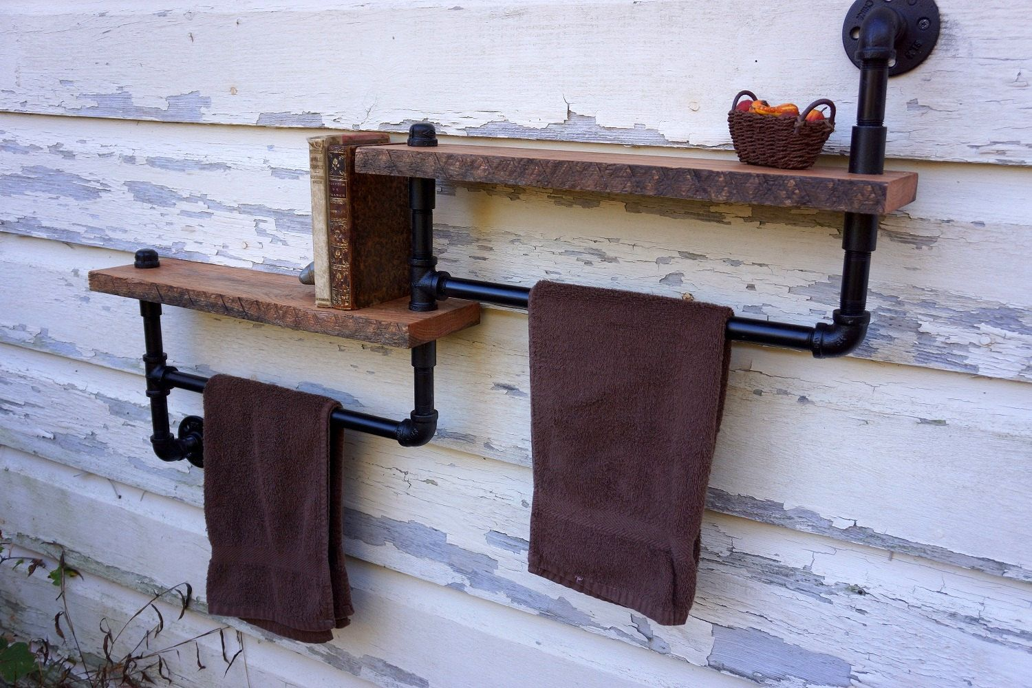 bathroom towel rack with two reclaimed oak shelves 149. Black Bedroom Furniture Sets. Home Design Ideas