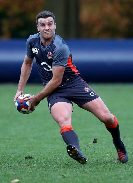 George Ford passes the ball during the England training session held at Pennyhill Park on November 22, 2016 in Bagshot, England.