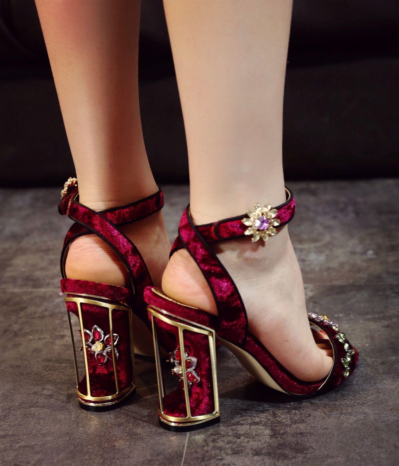 22210a179219 L Sweet Flower Rhinestone Block Heel Peeptoe Ankle Strap Date Party Women  Sandal