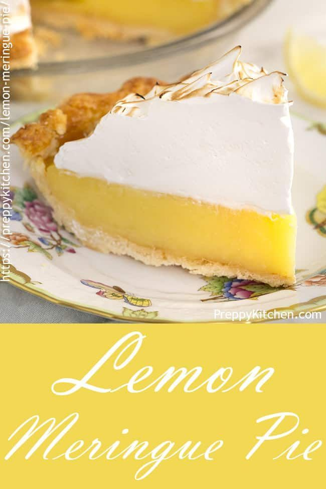 Easy lemon meringue pie recipe with a homemade pie crust with a lemon filling and topped with fluff