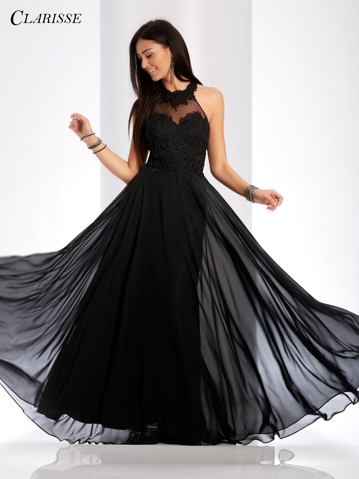 High Neck A-line Evening Gown 3528 | 5 Colors! | Black ...