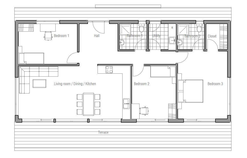 Small Home Plan Suits Best To Wide Lot Master Bedroom