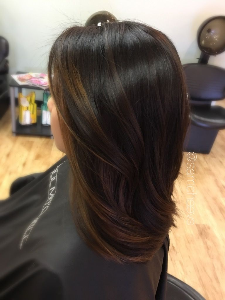 Black dark brown to light brown balayage ombre for ethnic hair